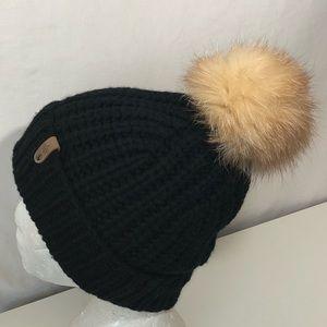 Mackage Dori 100% Cashmere Fox Fur Pom Pom Beanie